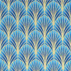 blauer Muschel Blatt Stoff Timeless Treasures Dynasty - Blumenstoffe - Stoffe - kawaii shop modeS4u