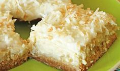 Ingredients: 2 cups flour 1 cup sugar 1 cup butter 16 ounces cream cheese 4 TBS sugar 4 TBS milk 2 eggs 2 tsp vanilla 16 ounces crushed pineapple, drained 2 cups flaked coconut 2 TBS melted butter Directions: 1 – Combine flour, 1 cup sugar and 1 Lime Cheesecake, Cheesecake Recipes, Coconut Cheesecake, Coconut Bars, Pineapple Cheesecake, Coconut Cream, Cheesecake Squares, Cheesecake Recipe 16 Oz Cream Cheese, Cream Cheese Bars