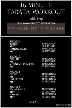 Tabata Workout with Amy Stafford at www.ahealthylifeforme.com