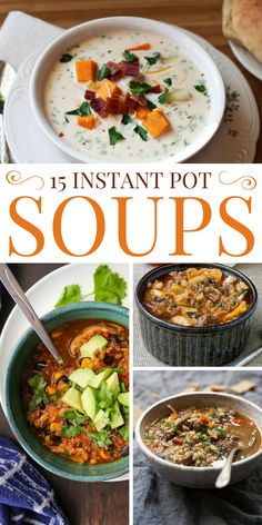 Healthy Recipes 15 Instant Pot Soup Recipes for Busy Families - Get a piping hot bowl of soup in a flash with your pressure cooker! These Instant Pot soup recipes are hearty, filling comfort food at its finest. Instant Pot Pressure Cooker, Pressure Cooker Recipes, Pressure Cooking, Crockpot Recipes, Cooking Recipes, Healthy Recipes, Instapot Soup Recipes, Hot Pot Recipes, Keto Recipes