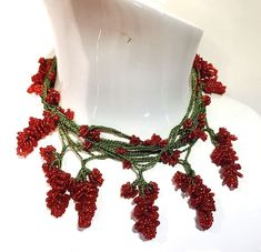 red mulberry bead turkish oya crochet necklace handmade christmas freeshipping   | eBay