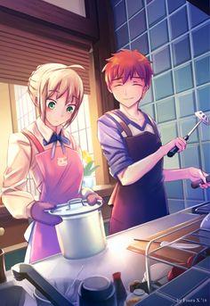Emiya Shirou x Saber Arturia Anime Couples Manga, Cute Anime Couples, Manga Anime, Anime Art, Saber X Shirou, Shirou Emiya, Good Anime Series, Fate Anime Series, One Punch Anime
