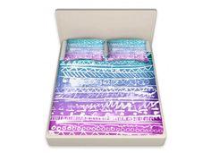 DiaNoche Designs Unique Decorative Designer Bed Sheets | Organic Saturation's Pastel Ombre Aztec