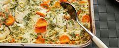 Ovnsbakt torsk med hvit saus er mild og god på smak og enkel å tilberede. Quiche, Fish, Breakfast, Morning Coffee, Pisces, Quiches