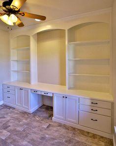 White Built-in Bookshelves with Desk - TaylorCraft Cabinet Door ...