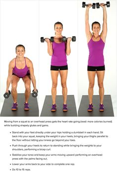 Dumbbell Squat, Curl, and Press