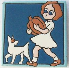 Vtg  Mosaic Tile Company Girl and Pumpkin Cat Dog Halloween Arts & Crafts Deco