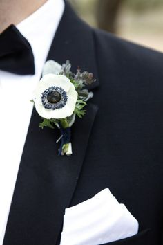 Anemone boutonniere for black and white wedding inspiration Trendy Wedding, Floral Wedding, Wedding Colors, Wedding Bouquets, Wedding Flowers, Dream Wedding, Anemone Wedding, Prom Flowers, Wedding Dresses