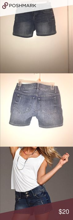 "VS denim hipster shorts size 0, excellent!! I have listed a fabulous pair of VS Hipster jean shorts, size 0, 4.5"" inseam and 13.5 across the waist.  They are a medium distressed blue and only worn once!!  Just too small for me:(. In the photo from VS they are pictured in a shorter inseam than the ones I'm selling, thanks!! Victoria's Secret Shorts Jean Shorts"