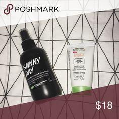 "LUSH COSMETIC + GARNIER SKIN ACTIVE Lush cosmetic - ""Sunny day"" anti static hair detangler. 3.3 fl oz.  Garnier skin active - oil free. Brightening & soothing daily moisturizer 1 fl oz. with broad spectrum SPF 15 Lush cosmetics  Other"