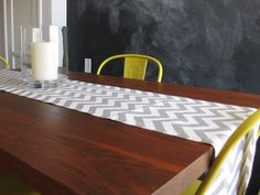 grey chevron table runner // with yellow chairs via etsy