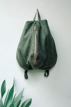Minimalist Backpack, Morphic Rucksack, Wool and Leather zippered Backpack by NagaLab on Etsy