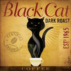 Black Cat Dark Roast Coffee original illustration graphic artwork on canvas 12 x 12 by stephen fowler. $79.00, via Etsy.