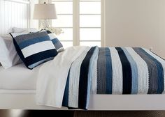 Stripes! Nautically inspired..shown: Granger striped quilt and standard sham