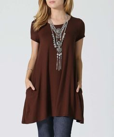 Look what I found on #zulily! Brown Side-Pocket Swing Tunic - Plus by 42POPS #zulilyfinds