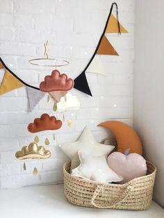 Terracotta and gold nursery Terracotta Ivory Burnt orange and Gold Cloud mobile Neutral gender nursery Star mobile white baby mobile Orange Nursery, Gold Nursery, Baby Nursery Neutral, Star Nursery, White Nursery, Baby Nursery Decor, Nursery Room, Nursery Layout, Rustic Nursery