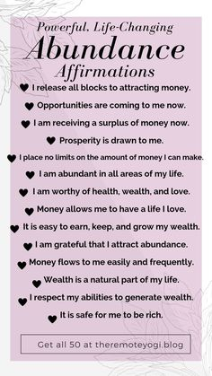Looking to call more abundance into your life? Change your mindset. Affirmations Positives, Positive Affirmations Quotes, Self Love Affirmations, Morning Affirmations, Law Of Attraction Affirmations, Money Affirmations, Affirmation Quotes, Positive Quotes, Mantra
