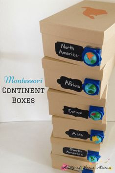 Montessori Continent Boxes and an exciting announcement about hands-on geography with kids! How to Make Montessori Continent Boxes, a fun hands-on learning component to a Montessori Geography curriculum - includes list of materials & tips! Hands On Geography, Geography For Kids, Geography Activities, Teaching Geography, Continents Activities, Geography Classroom, 7 Continents, Montessori Homeschool, Montessori Classroom