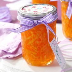 """Zucchini Peach Jelly Recipe -I like to use this jelly as a condiment. It's always a conversation piece—everyone wonders about the """"green"""" ingredient! This beautiful jelly is so easy to make and I often use it as a gift-giving item for the holidays. Jelly Recipes, Jam Recipes, Canning Recipes, Gelatin Recipes, Canning Tips, Frugal Recipes, Drink Recipes, Zucchini Jam, Zucchini Zoodles"""