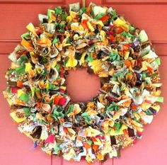 Fall Rag Wreath by CorinnesCottage on Etsy, $22.50