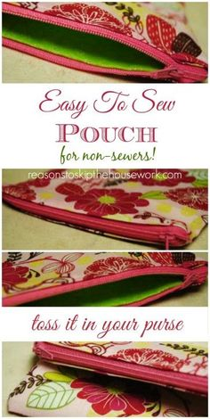 Bag pouch Easy Zipper Pouch {tutorial} - Reasons To Skip The Housework Easy Sewing Projects, Sewing Hacks, Sewing Tutorials, Tutorial Sewing, Bag Tutorials, Sewing Diy, Diy Projects, Purse Patterns, Sewing Patterns