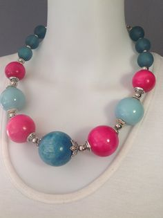 Bold bubblegum statement choker necklace - Turquoise & Fuchsia by Afrigal Designs