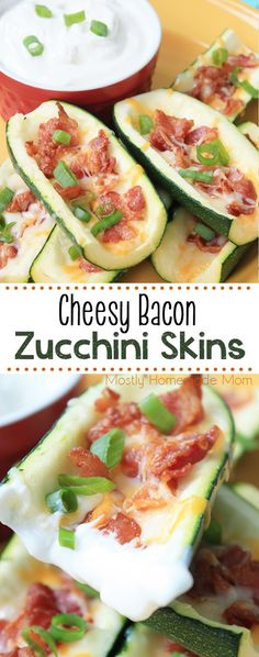 Cheesy Bacon Zucchini Skins - loaded with Monterey Jack cheese, bacon, green onion, and dipped in sour cream; the low carb version of potato skins you've been looking for! Veggie Recipes, Low Carb Recipes, Diet Recipes, Ketogenic Recipes, Cooking Recipes, Healthy Recipes, Protein Recipes, Potato Recipes, Ketogenic Diet App