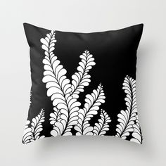 """Aqua Nocturnae"" doodle art pillow by Heidi Denney 