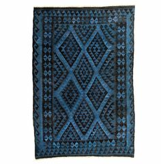 $749.99 Vintage Over-Dyed Blue Kilim: Create a standout addition to your home with this hand-knotted overdyed kilim rug. With a deep blue color and rich pattern, the vibrant rug was woven and then overdyed to create a one-of-a-kind work of art.