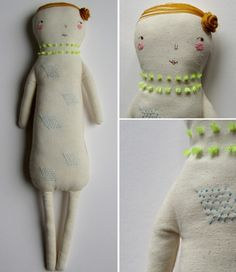 beautiful handmade dolls by Marina R - with neon details, embroidered stitches. see more at SmallforBig.com #dolls #kids #handmade