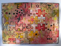 Ella's Puzzle - papers glued on first, then trimmed, decorated - by Phizzychick! (Flickr) I like the harmonious colour scheme.