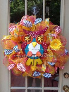 Whimsical Owl Deco Mesh Wreath, Summer Wreath, Door Decor, Home Decor, Wreath, Mesh, on Etsy, $65.00