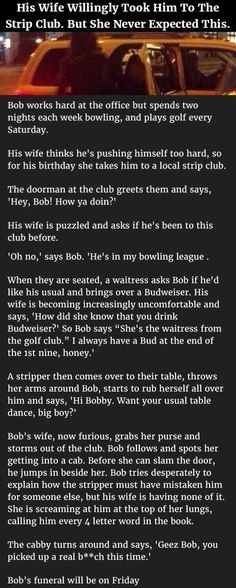 Wife Willingly Takes Husband To Strip Club But Never Expected This... funny jokes story lol funny quote funny quotes funny sayings joke humor stories marriage humor