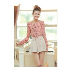 Korean Fashion Chiffon Floral Lapel Dotted Long Sleeves One Size Slim... ($17) ❤ liked on Polyvore
