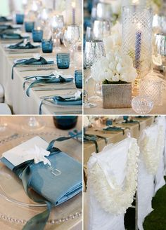 All white flower centerpieces, blue napkins with matching ribbons, silver glasswares and endless candles, all details on this long table are fabulous!