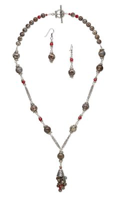 Jewelry Design - Single-Strand Necklace and Earring Set with Orbicular Jasper Gemstone Beads, Swarovski Crystal and Wire Wrap - Fire Mountain Gems and Beads