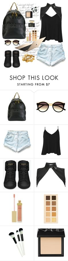 """""""Untitled #174"""" by bowkavi ❤ liked on Polyvore featuring Moschino, Levi's, Boohoo, Yves Saint Laurent, Neat Collar, AERIN, LORAC, Dolce&Gabbana, NARS Cosmetics and Chanel"""