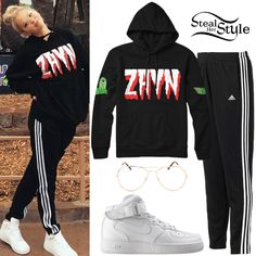 Jordyn Jones posted a photo on instagram a couple of days ago wearing an Alien by Zayn Pullover ($60.00), Adidas T10 Pants ($35.99), Forever 21 Clear Aviator Readers ($5.90), and Nike Air Force 1 Mid Sneakers ($94.99).