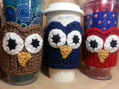 Owl Coffee Cup Sleeve Cozy  Crochet Cup Sleeve by PoochieBaby