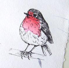 Gocco Print Robin Bird on White Khadi Paper with petals