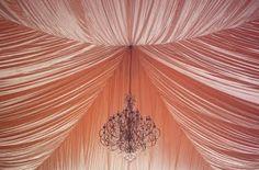 Peach fabric ceiling and chandelier Wedding Events, Our Wedding, Wedding Ideas, Weddings, Wedding Details, Tent Wedding, Wedding Receptions, Dream Wedding, Reception Ideas