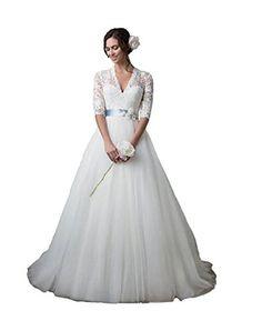 Ikerenwedding Women's V-neck Lace Applique Bridal Gown Trailing Wedding Dresses White US14 Ikerenwedding http://www.amazon.com/dp/B01D198LXE/ref=cm_sw_r_pi_dp_taL6wb0WD927H