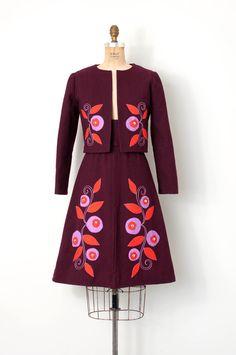 vintage 1960s dress / floral applique mod 60s dress by SwaneeGRACE