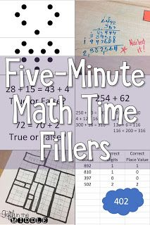 Use these quick math fillers when you have 5 to 10 minutes