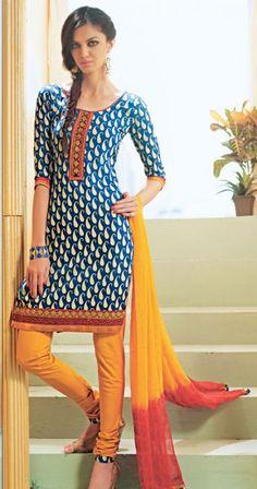 Blue Color Cotton Indian Churidar Kameez ORKL2142 http://www.a2zoffer.com