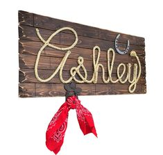 ASHLEY : 32 Western Rope Name Sign Cowgirl Theme by RopeAndStyle