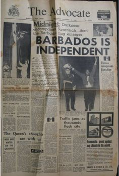 Front Page December 1966.. The Barbados Advocate Father of Independence Errol Barrow raising the Barbados flag... Hip Hip Hooray!!! If you our culture, beaches, people and our island, then become a fan of Beautiful Barbados