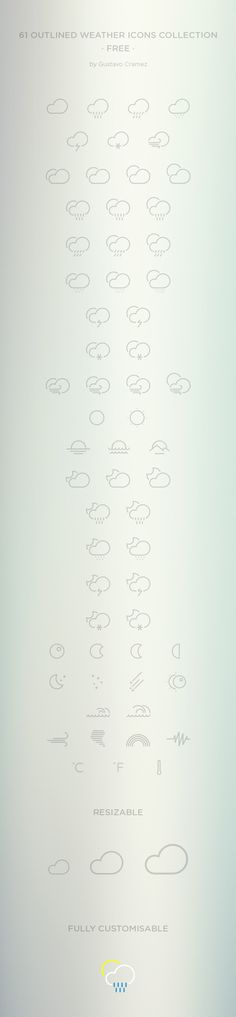 Free 61 Outlined Weather Icons