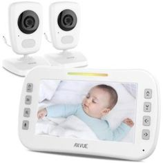 AXVUE Video Baby Monitor with Two Cameras and LCD Night Vision Temperature Detection Talk VOX Sound Lights Power Saving On/Off Expandable Cam >>> See this great product-affiliate link. Baby List, Baby Monitor, Gifts For New Moms, Baby Safety, Best Camera, Night Vision, Infant, Parenting, Children