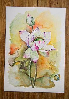 sun white pink lutus flower bulb joyful happiness by AnnaHannahArt
